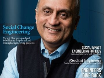 GineersNow March 2016 Issue. Social Change Engineering Magazine Front Cover Manoj Bhargava